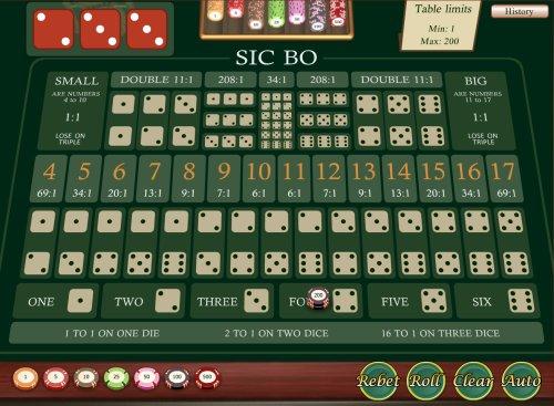 Пример игры в Sic Bo.